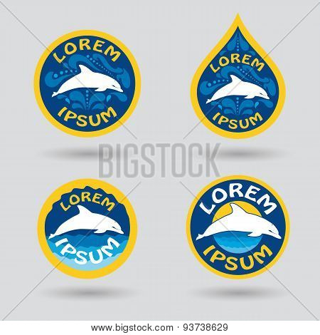 Swimming Or Sport Club Logo With Dolphin Illustration