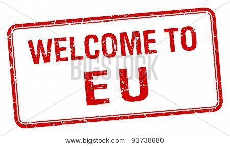 Welcome To Eu Red Grunge Square Stamp