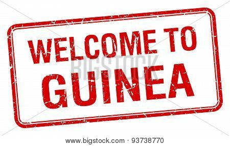 Welcome To Guinea Red Grunge Square Stamp