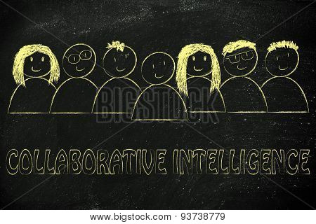 Happy Diverse People Composin A Group Of Collaborative Intelligence