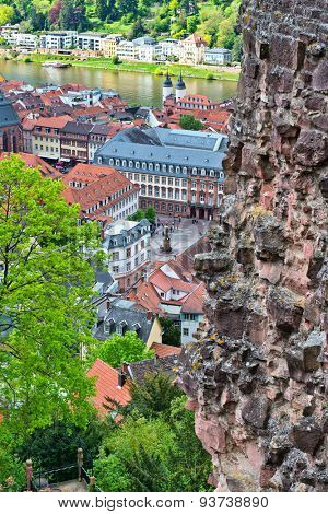 Looking Down at Historic Old Town Square and Banks of Neckar River from Heidelberg Castle, Baden-Wurttemberg, Germany