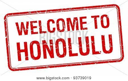 Welcome To Honolulu Red Grunge Square Stamp