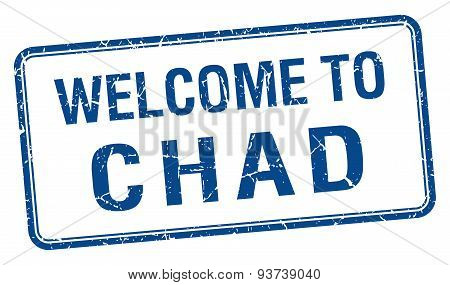 Welcome To Chad Blue Grunge Square Stamp