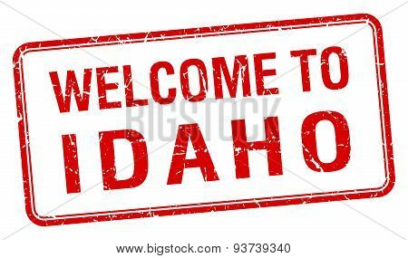 Welcome To Idaho Red Grunge Square Stamp