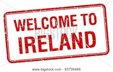 Welcome To Ireland Red Grunge Square Stamp