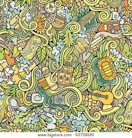 Cartoon vector doodles camping seamless pattern