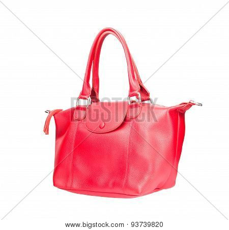 Beautiful Color Of Pink Leather Fashion Hand Bag Isolated White Background