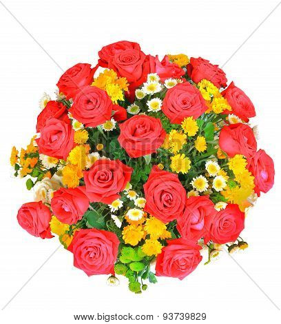 Top View Of Red And White Roses Flowers Bouquet And Yellow Tulip In Bucket Isolated White Background
