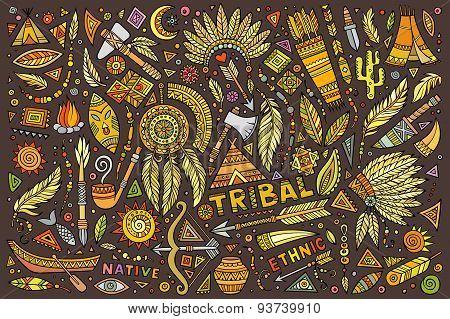 Tribal native set of symbols