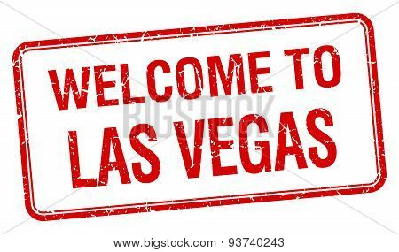Welcome To Las Vegas Red Grunge Square Stamp