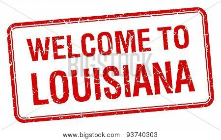 Welcome To Louisiana Red Grunge Square Stamp