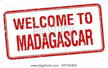Welcome To Madagascar Red Grunge Square Stamp
