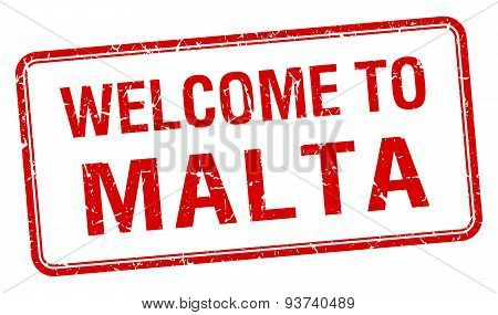 Welcome To Malta Red Grunge Square Stamp