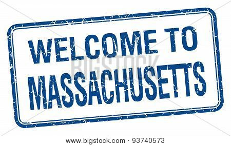 Welcome To Massachusetts Blue Grunge Square Stamp