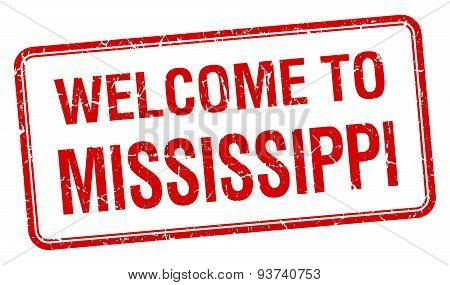 Welcome To Mississippi Red Grunge Square Stamp
