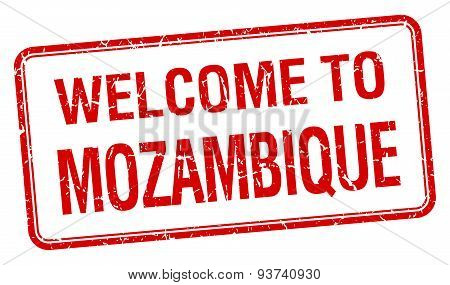 Welcome To Mozambique Red Grunge Square Stamp