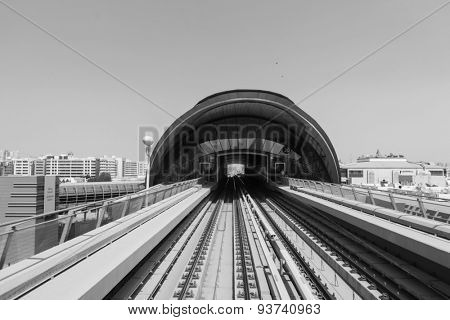 DUBAI - OCT 15: view frorm the Dubai metro car on October 15, 2014. The Dubai Metro is a driverless, fully automated metro rail network in the United Arab Emirates city of Dubai
