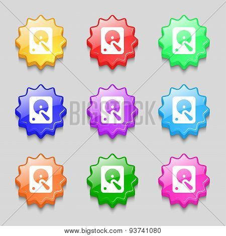 Hard Disk Icon Sign. Symbol On Nine Wavy Colourful Buttons. Vector