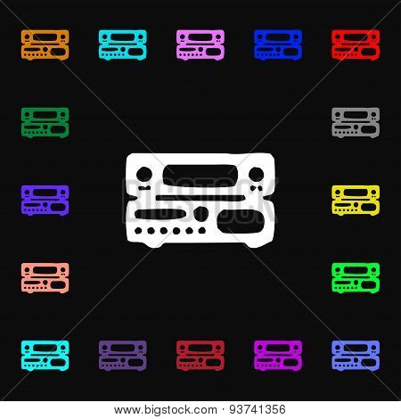 Radio, Receiver, Amplifier Icon Sign. Lots Of Colorful Symbols For Your Design. Vector