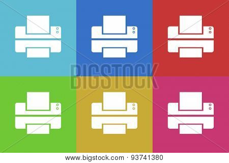 printer flat design modern vector icons set for web and mobile app