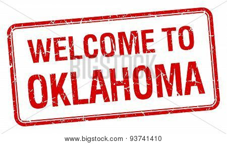 Welcome To Oklahoma Red Grunge Square Stamp
