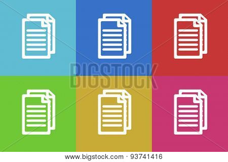 document flat design modern vector icons set for web and mobile app