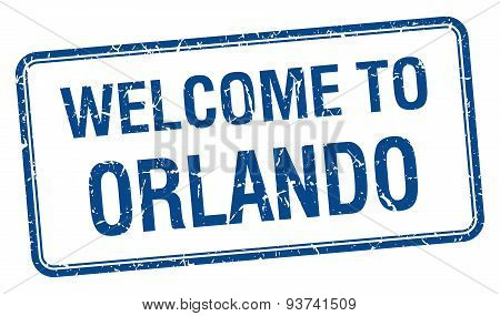Welcome To Orlando Blue Grunge Square Stamp