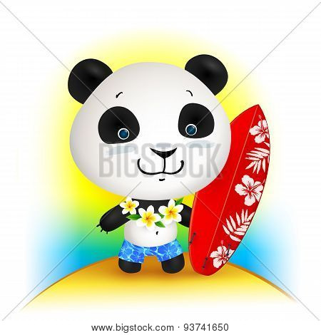 Little cute surfer panda, vector illustration