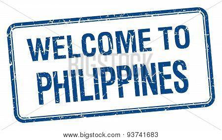 Welcome To Philippines Blue Grunge Square Stamp