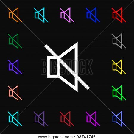Without Sound, Mute Icon Sign. Lots Of Colorful Symbols For Your Design. Vector