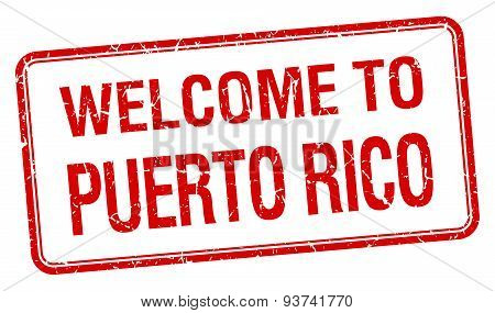 Welcome To Puerto Rico Red Grunge Square Stamp