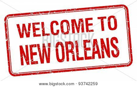 Welcome To New Orleans Red Grunge Square Stamp