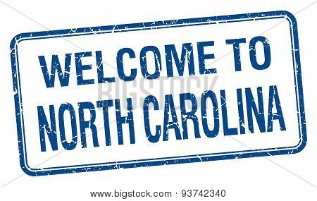 Welcome To North Carolina Blue Grunge Square Stamp