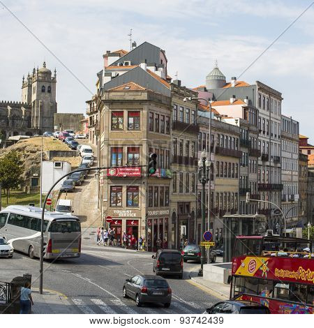 PORTO, PORTUGAL - JUNE 9, 2015: One of the streets in the Porto Old town. UNESCO recognised Old Town of Porto as a World Heritage Site in 1996.