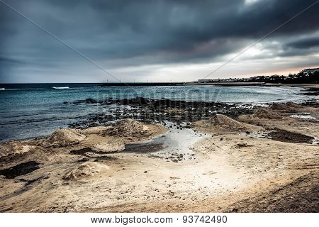 rocky shore at magnificent dusk