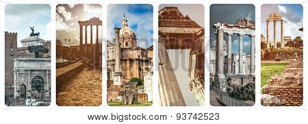collage of historical views of the Roman Forum,  Italy