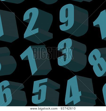 Digits on black background. Vector seamless pattern