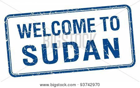 Welcome To Sudan Blue Grunge Square Stamp