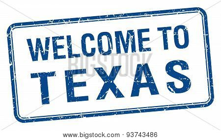 Welcome To Texas Blue Grunge Square Stamp