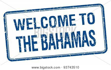 Welcome To The Bahamas Blue Grunge Square Stamp