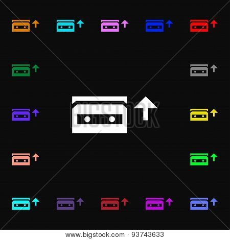 Audio Cassette Icon Sign. Lots Of Colorful Symbols For Your Design. Vector