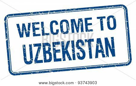 Welcome To Uzbekistan Blue Grunge Square Stamp