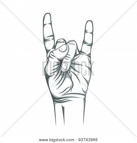 Rock n roll sign, isolated on white background.