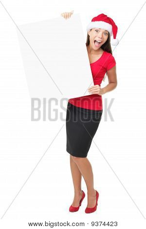 Santa Business Woman Holding Banner Sign