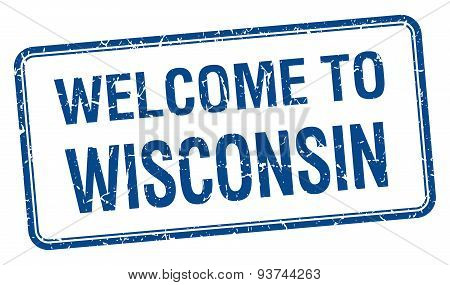 Welcome To Wisconsin Blue Grunge Square Stamp