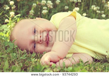 Happy Baby Outside In Nature