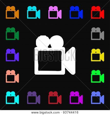 Camcorder Icon Sign. Lots Of Colorful Symbols For Your Design. Vector