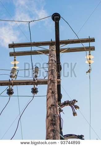 Wooden electric poles