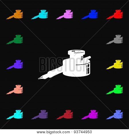 Pen And Ink Icon Sign. Lots Of Colorful Symbols For Your Design. Vector