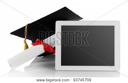 Graduation cap with tablet and diploma isolated on white